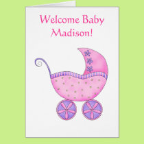 Welcome Baby Girl Name Personalized Pink Buggy Card