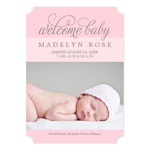 Welcome baby girl photo birth announcement zazzle for Baby birth announcements templates for free