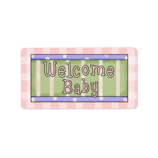 Welcome Baby Girl Pink Avery Labels