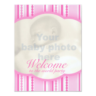 Welcome baby girl pink party photo invitation card