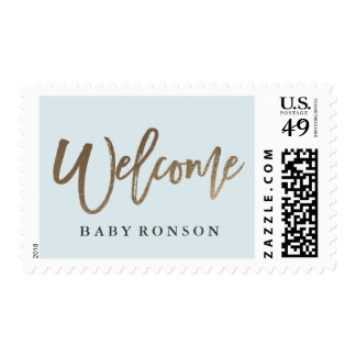 Welcome baby gold faux foil calligraphy stamp