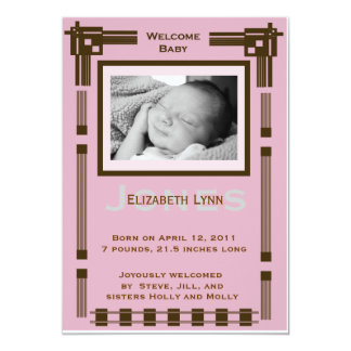 """Welcome Baby Modern Baby Announcement 5"""" X 7"""" Invitation Card"""