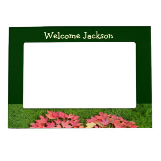 Welcome Baby Name magetic Photo Frame Green Leaves Magnetic Frames