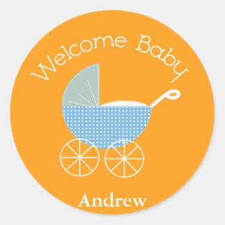 Welcome Baby Orange Sticker