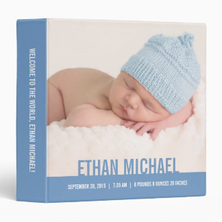 Welcome Baby Personalized Binder - Blue