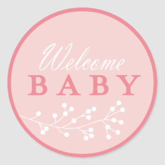 welcome baby pink baby shower stickers