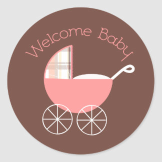 Welcome Baby Pink/Brown Sticker