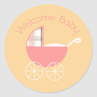 Welcome Baby Pink Plaid Sticker