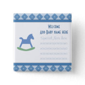 Welcome Baby Rocking Horse Button button