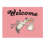 welcome baby rose post card