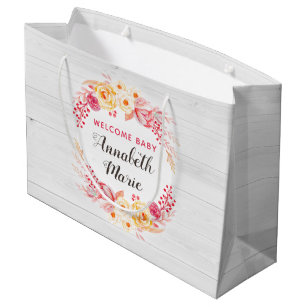 Welcome Baby Shabby Chic Rustic Fl Shower Large Gift Bag