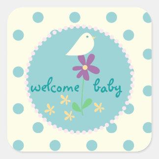 welcome baby shower blue dot white bird square sticker