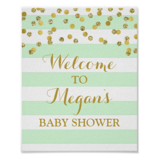 Welcome Baby Shower Sign Mint Stripe Gold Confetti