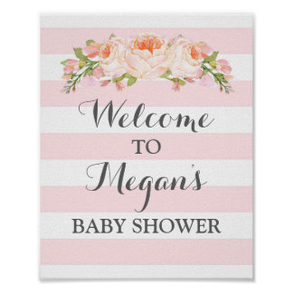 Welcome Baby Shower Sign Pink Flowers Stripes