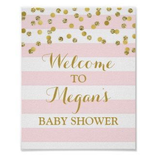 Welcome Baby Shower Sign Pink Stripe Gold Confetti