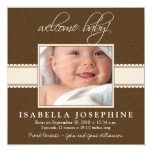 """Welcome Baby! Taupe Ribbon Birth Announcement 5.25"""" Square Invitation Card"""