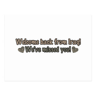 Welcome Back from Iraq Postcard