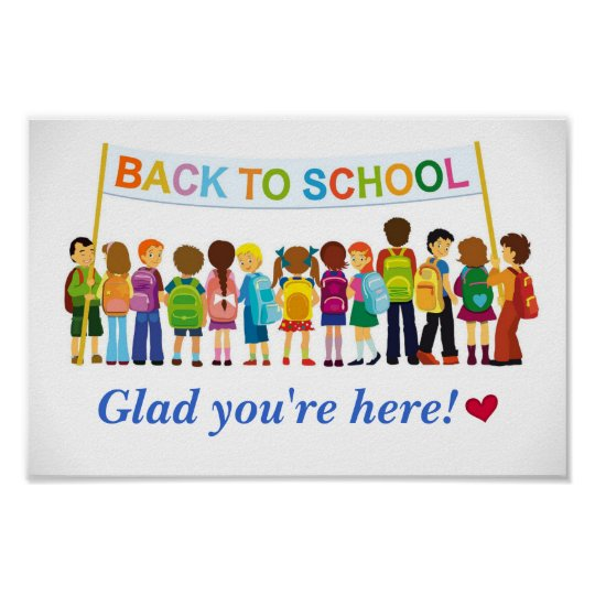 welcome back  glad you u0026 39 re here  school poster  poster