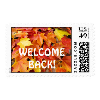 WELCOME BACK! postage stamps Autumn Leaves