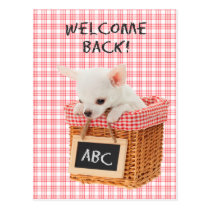 Welcome back puppy postcard