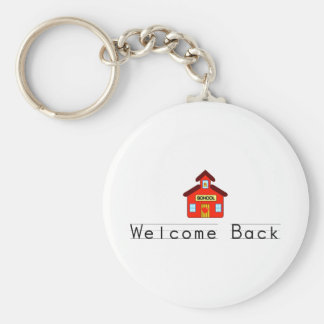 Welcome Back (Schoolhouse) Basic Round Button Keychain