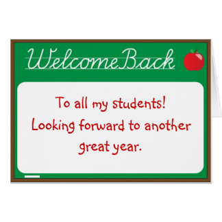 Welcome Back Teacher Note Card
