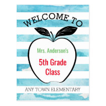 Welcome Back to School, Apple & Watercolor Stripes Postcard