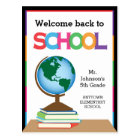 Welcome Back to School, Globe & Books Personalized Postcard