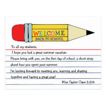 Welcome Back to School Pencil Postcard