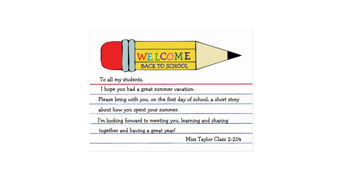 Welcome Back To School Pencil Postcard | Zazzle.Com