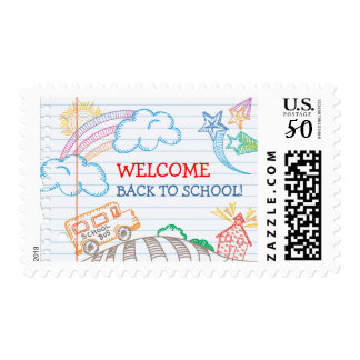 Welcome Back to School Postage Stamp