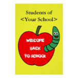 Welcome Back To School Red Apple and Green Worm Poster