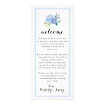 Welcome Bag Notes - Blue Floral Hydrangea Rack Card