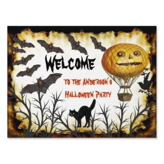Welcome Bat Pumpkin Cat Tree Halloween Party Sign
