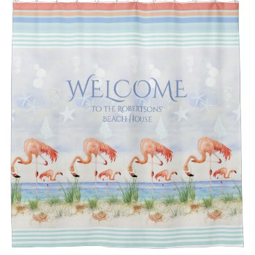 Beach Themed Welcome Beach House Sign Flamingo Ocean Seashell Shower Curtain