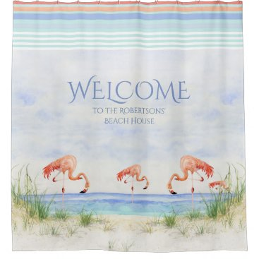 Professional Business Welcome Beach House Sign Flamingoes Ocean Sand Art Shower Curtain