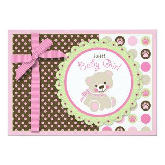 Welcome Bear Girl Invitation Card