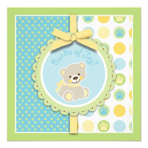 Welcome Bear Square Custom Announcements
