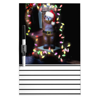 Welcome Bear with Christmas Lights Dry Erase Whiteboards