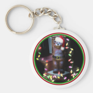 Welcome Bear with Christmas Lights Keychain