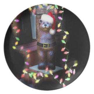 Welcome Bear with Christmas Lights Party Plates