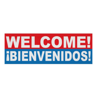 Welcome Bienvenidos English Spanish Banner Poster
