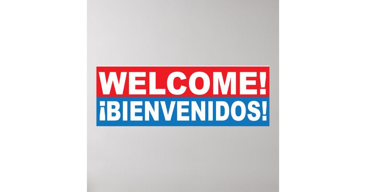Welcome Bienvenidos English Spanish Banner Poster | Zazzle