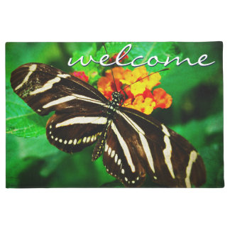 """Welcome"" black & white butterfly photo doormat"