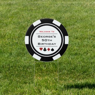 Welcome Black White Red Poker Chip Birthday Party Sign