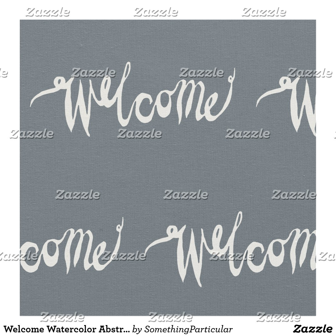 Welcome Blue Watercolor Abstract Font Background Fabric