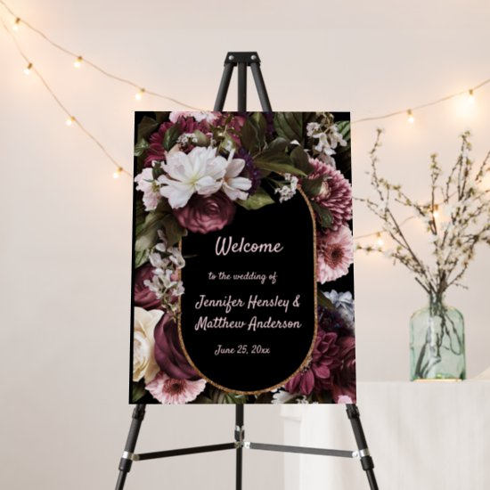 Welcome Burgundy and Pink Rustic Floral Wedding Foam Board