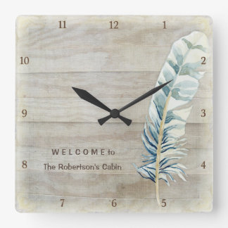 Welcome Cabin Decor Wood Fence Board w Feather Square Wallclocks