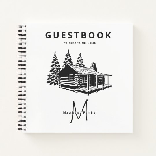 Welcome To Our Cabin Personalized Guestbook Journal With Family Last Name