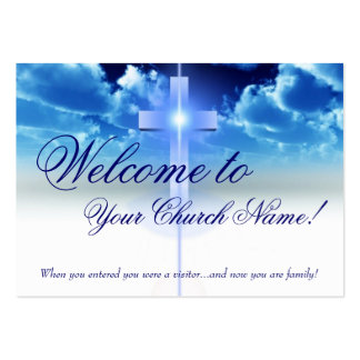 Welcome Card: Illuminated Cross Visitor Card Business Cards